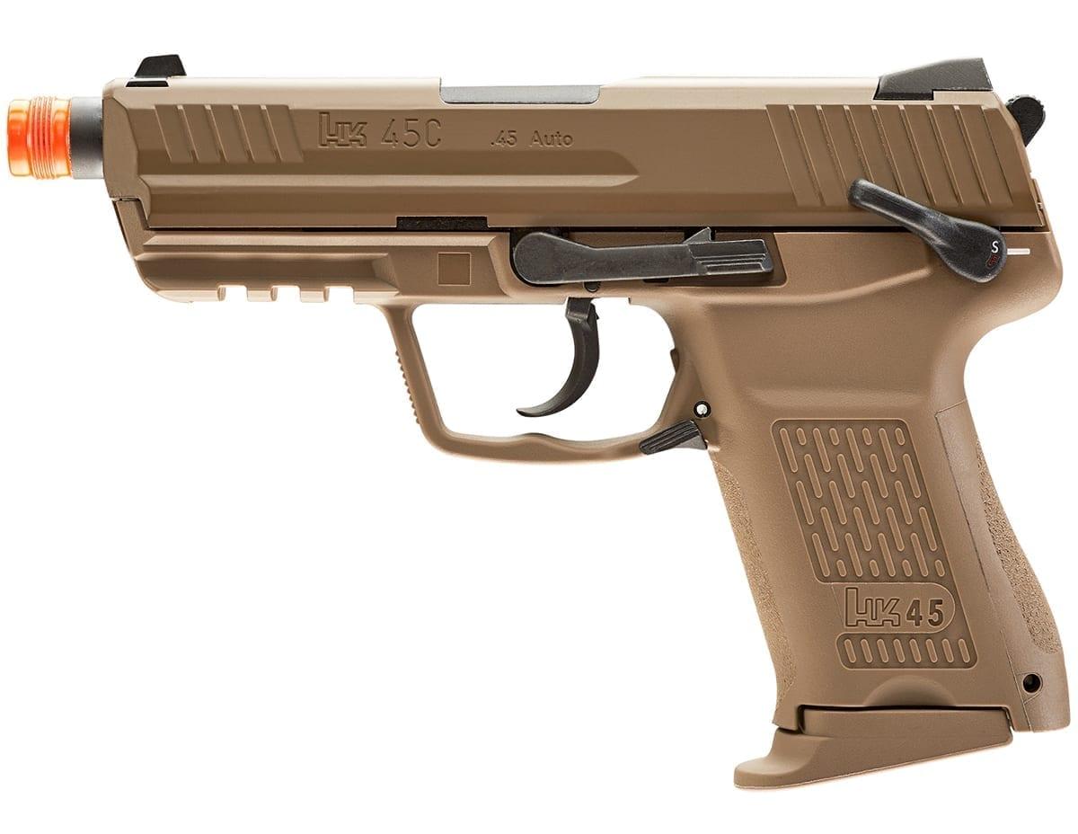 Elite Force HK45 GBB Blowback 6mm BB Pistol Airsoft Gun, FDE