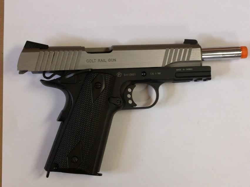COLT 1911 RAIL GUN SERIES CO2 METAL BLOWBACK SILVER/BLACK